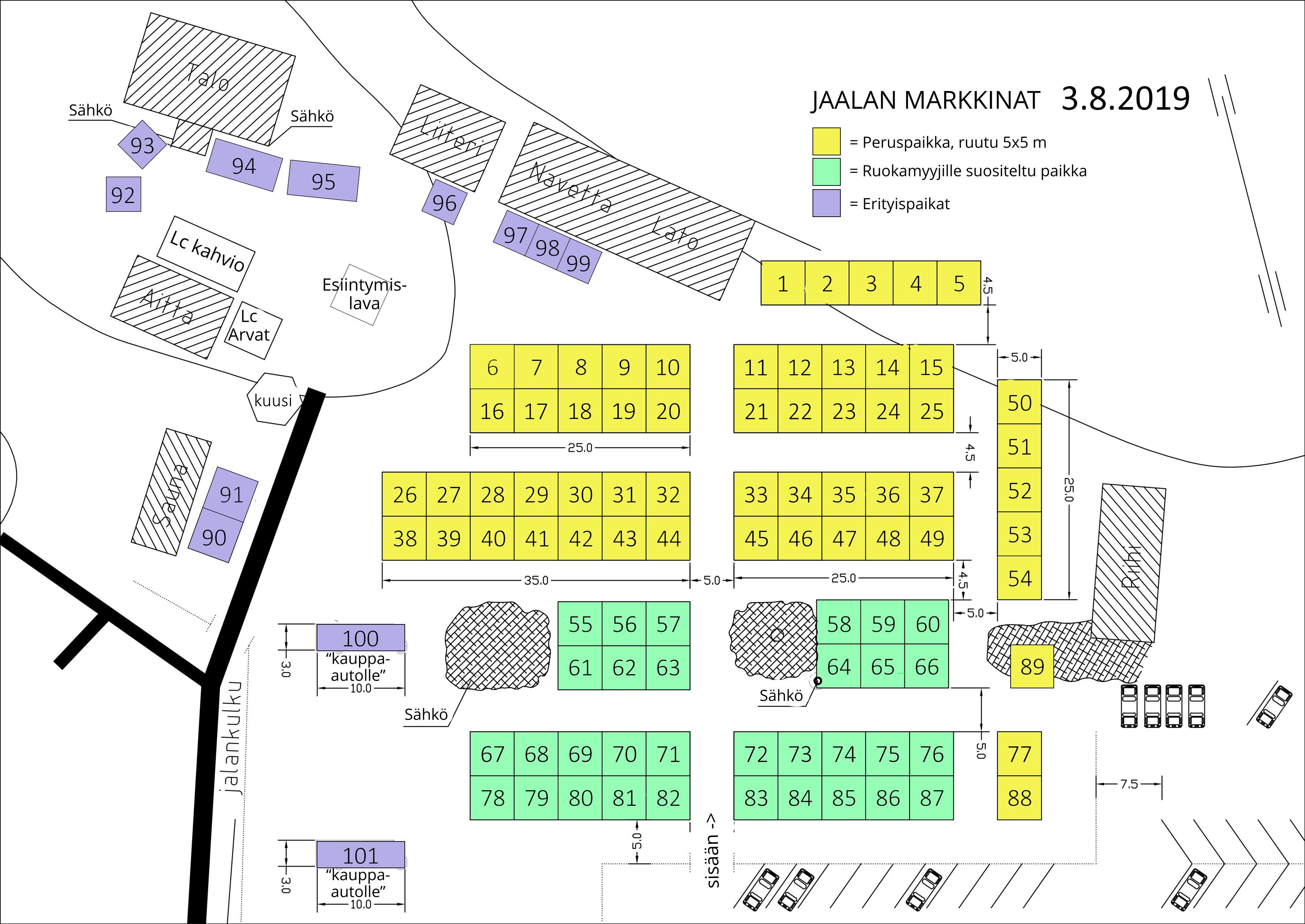 Jaalan Markkinat 2019 markkinapaikat. Klikkaa karttaa ja mene varaamaan paikka.
